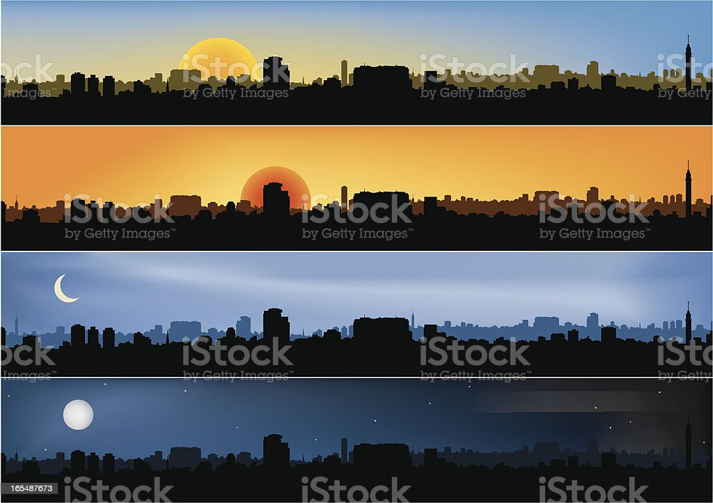 Four different panoramic city scenes vector art illustration