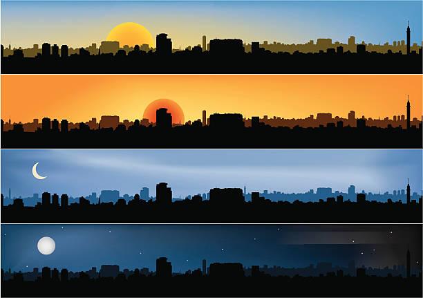 bildbanksillustrationer, clip art samt tecknat material och ikoner med four different panoramic city scenes - morgon