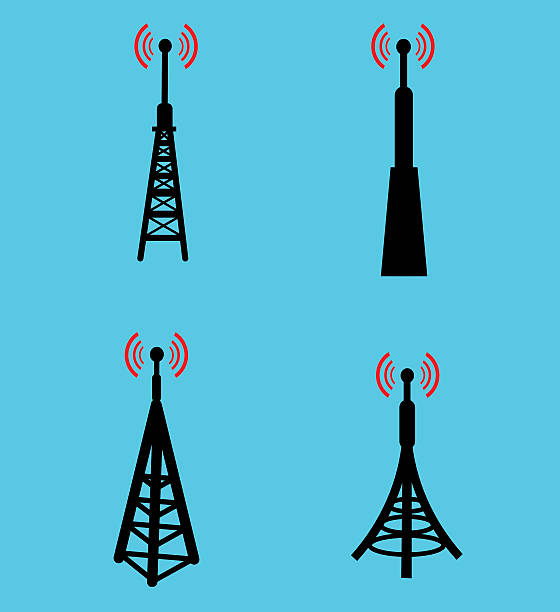 Four different radio antenna icons against a blue background Different antennas design repeater tower stock illustrations