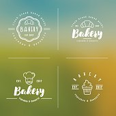 Four different styles of bakery logo with thin line icons of chef, croissant, cupcake. Modern vector illustration for emblem of bakery shop, confectionery.