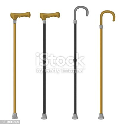 istock Four different styles of walking canes 121593399