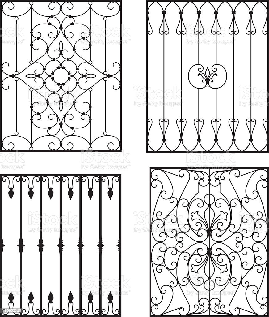 Four different wrought iron designs for fences or gates royalty-free four different wrought iron designs for fences or gates stock vector art & more images of ancient