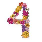 Viercijferige gemaakt van verschillende bloemen. Floral element van kleurrijke alfabet gemaakt van bloemen.  illustratie