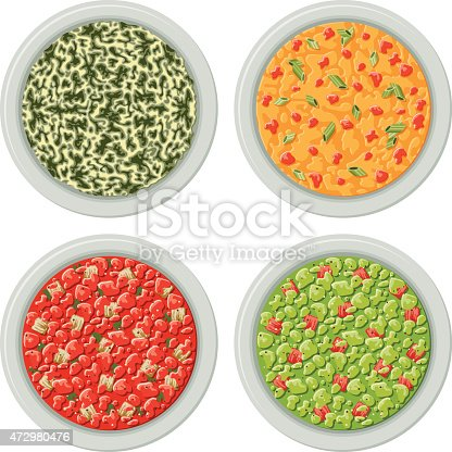 Four bowls of dips typically served with potato chips or tortillas. Includes spinach dip, queso cheese sauce (cheese sauce with spicy salsa and green onions), tomato salsa and avocado guacamole. No gradients or transparencies used. This download includes an AI10 CMYK EPS vector file as well as a high resolution RGB JPEG file (minimum 1900 x 2800 pixels).