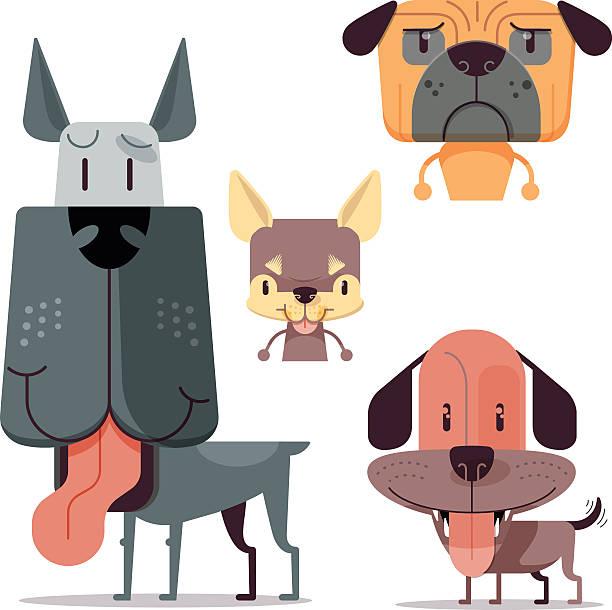 four dog characters - schoßhunde stock-grafiken, -clipart, -cartoons und -symbole