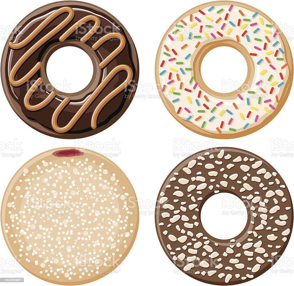 Four Donuts royalty-free four donuts stock vector art & more images of baked
