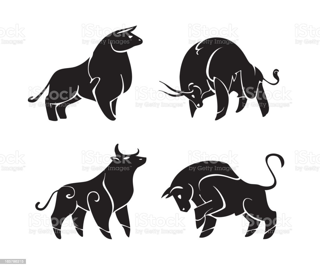 Four drawings of black bulls royalty-free four drawings of black bulls stock vector art & more images of animal