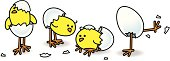 Illustration of Four Easter Chicks Hatching from White Eggs in various stages of Escape on Isolated Background