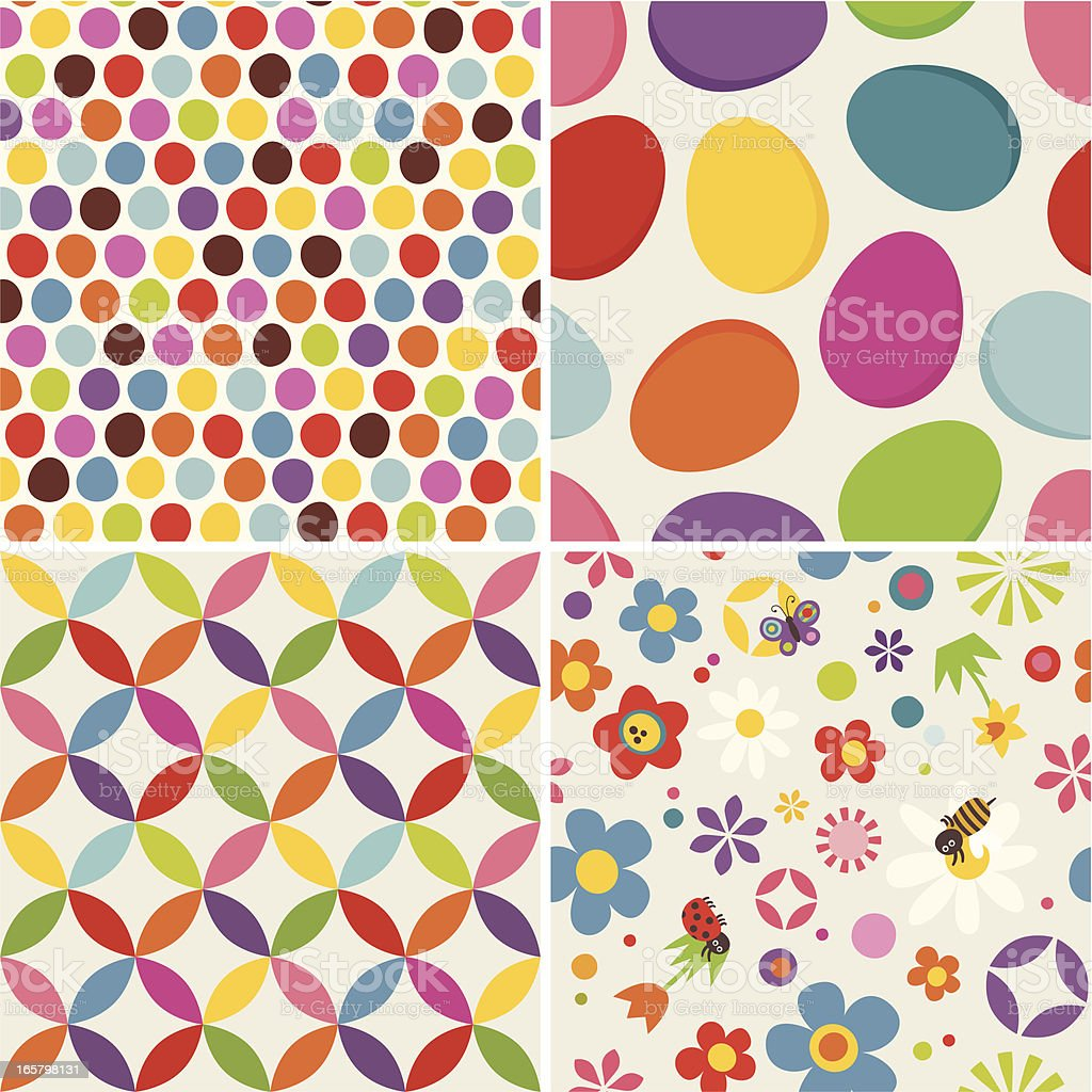 Four Easter seamless pattern royalty-free stock vector art