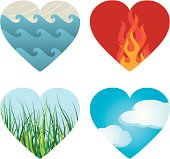 EPS, Layered PSD, High-Resolution JPG included. Four hearts containing images of four elements - Water, Fire, Earth, and Air.