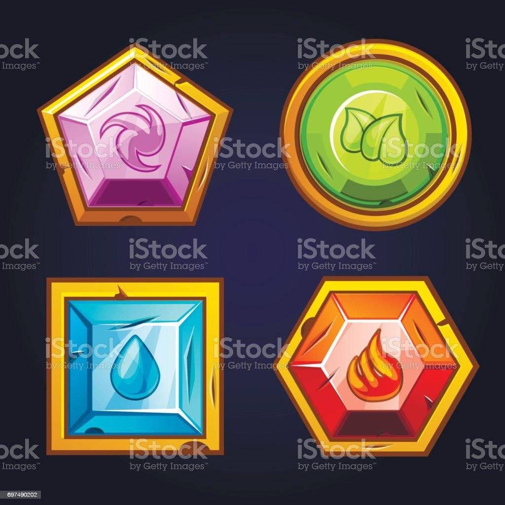 Ilustración de Cuatro Elementos Icono Viejas Piedras Preciosas y más ...