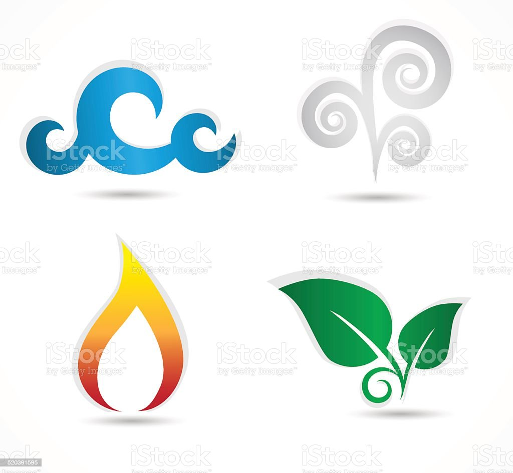 Four Elements Symbols Stock Vector Art More Images Of Abstract