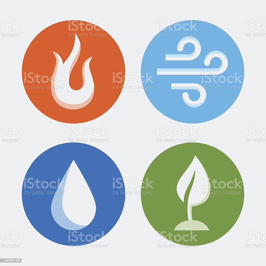 Four elements - vector icons set #2 vector art illustration