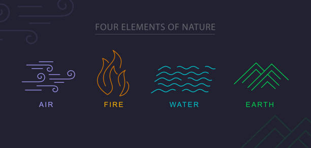 four elements the four elements of nature design elements topics stock illustrations