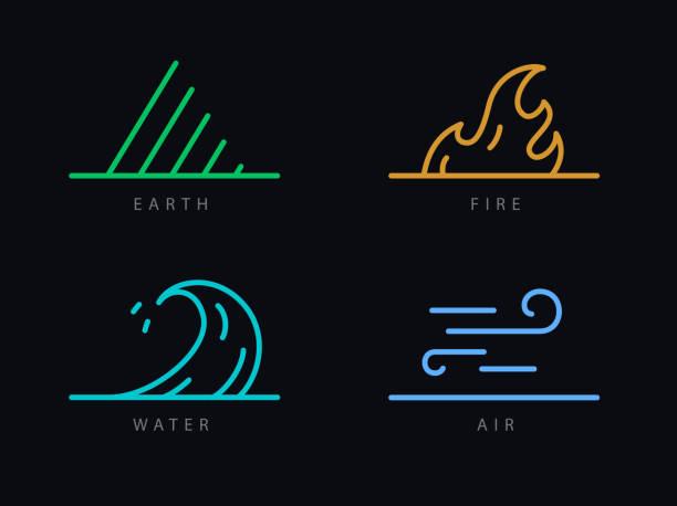 stockillustraties, clipart, cartoons en iconen met vier elementen - wind