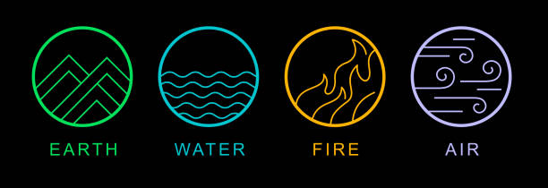 four elements - cztery żywioły stock illustrations