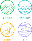 the four elements concept icons set