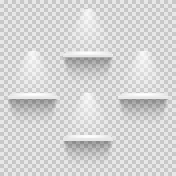 stockillustraties, clipart, cartoons en iconen met vier lege witte planken geïsoleerd op transparante achtergrond. vector ontwerpsjabloon. - boekenkast