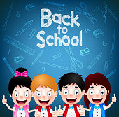 Four Enjoy Cute Student Characters Wearing School Bag