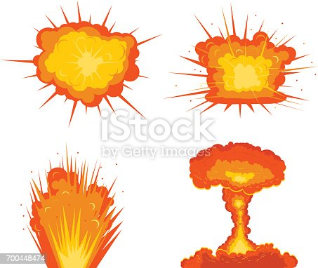 Vector illustration of four 4 types of explosions.