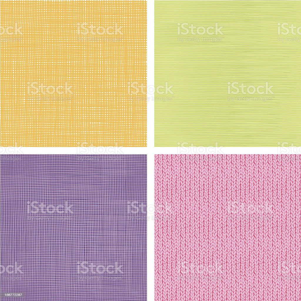 Four Fabric Textures Seamless Patterns Set royalty-free four fabric textures seamless patterns set stock vector art & more images of abstract
