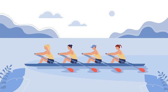 Four female athletes are swimming on a boat.