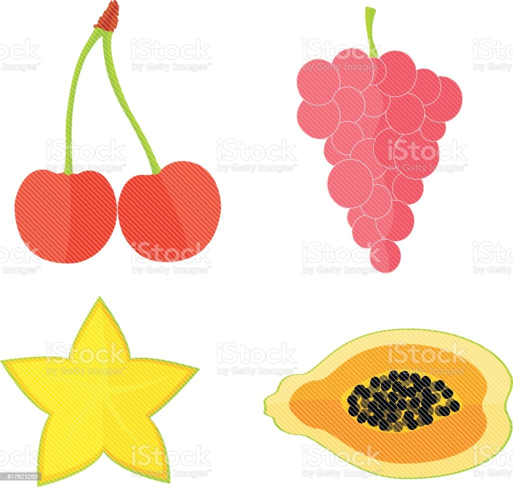 Four Flat Fruits with Texture vector art illustration