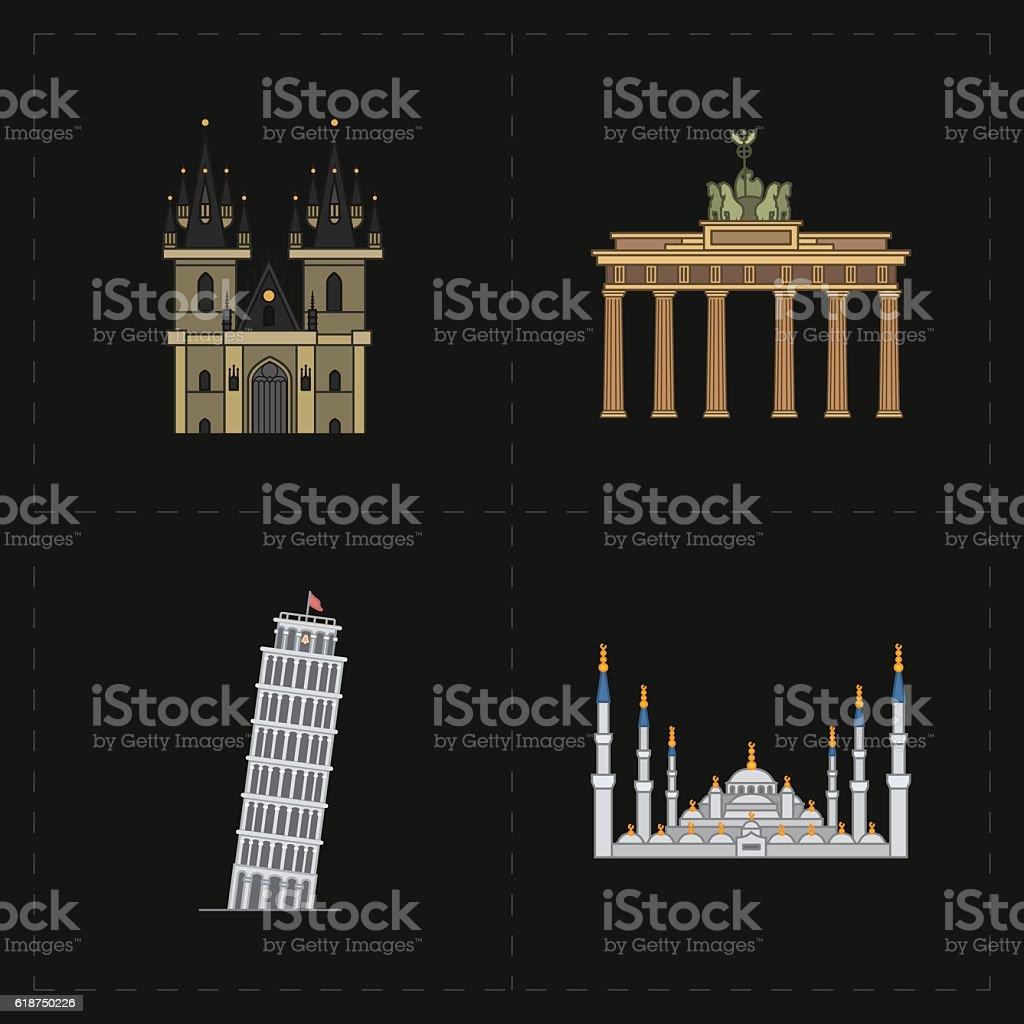 four flat landmark icons vector art illustration