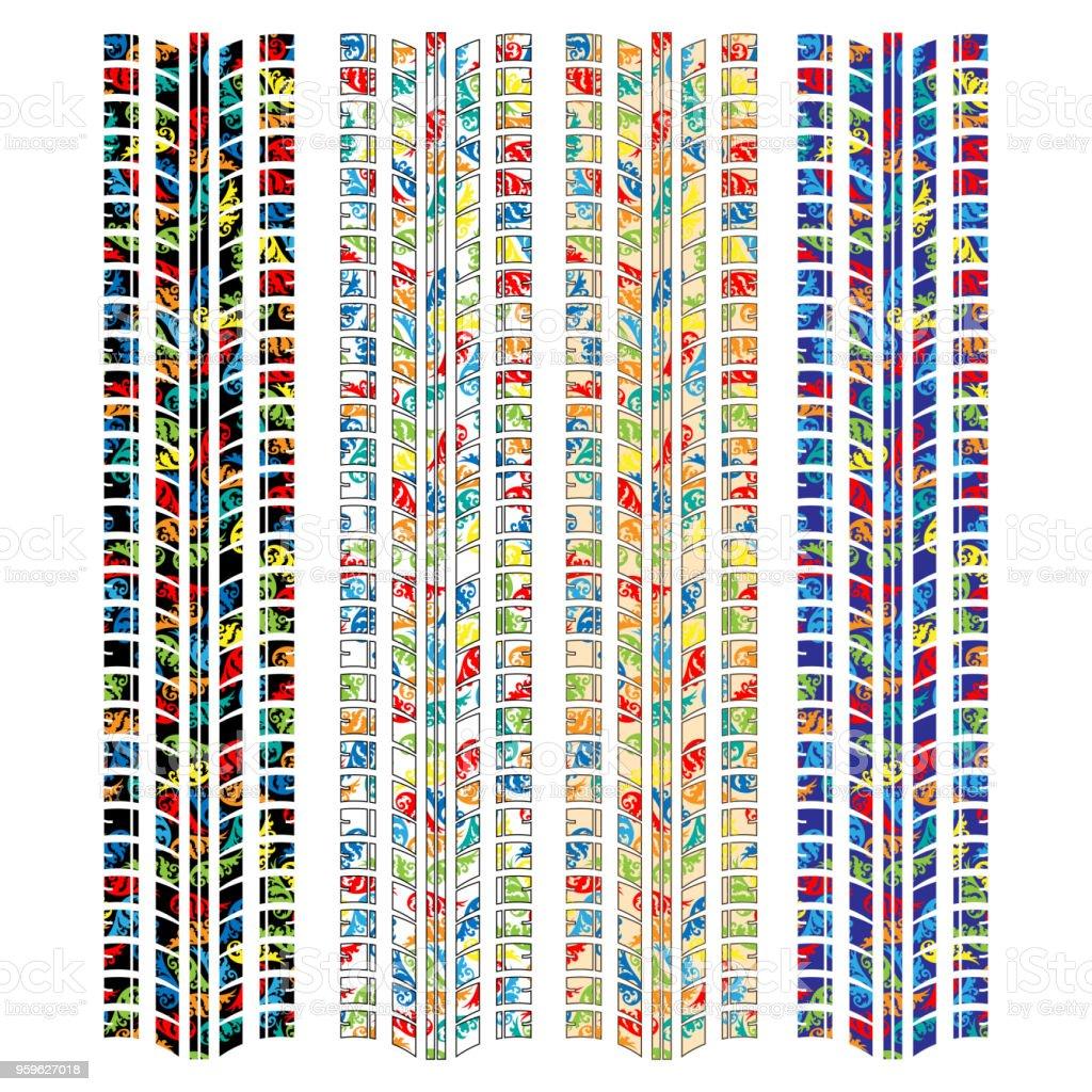 Cuatro siluetas de pista neumático floral - arte vectorial de Abstracto libre de derechos