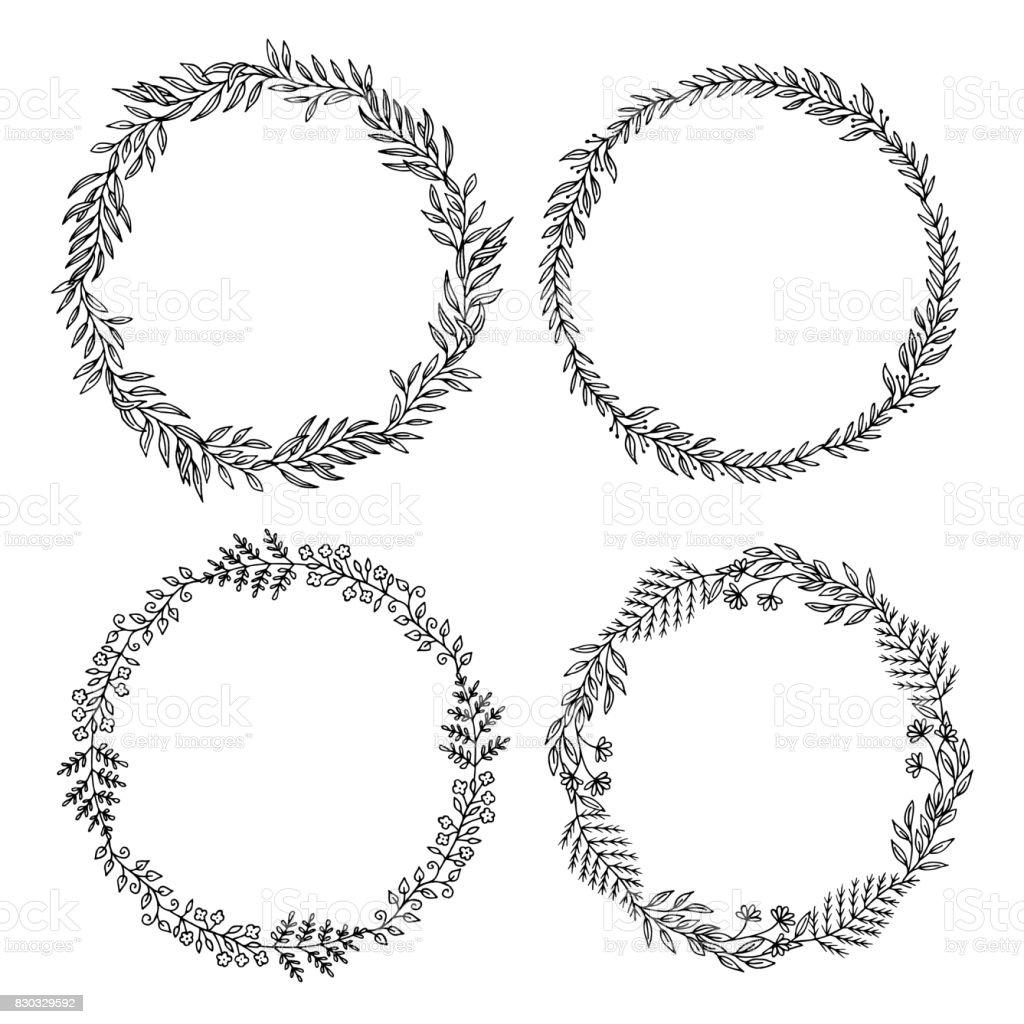 Four floral wreaths vector art illustration