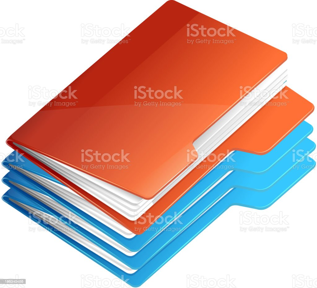 Four folders with paper. Folder stack royalty-free stock vector art