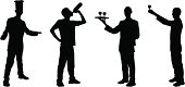 Silhouettes of a welcoming chef, a man drinking from a bottle, a waiter, and a man making a toast. (vector)