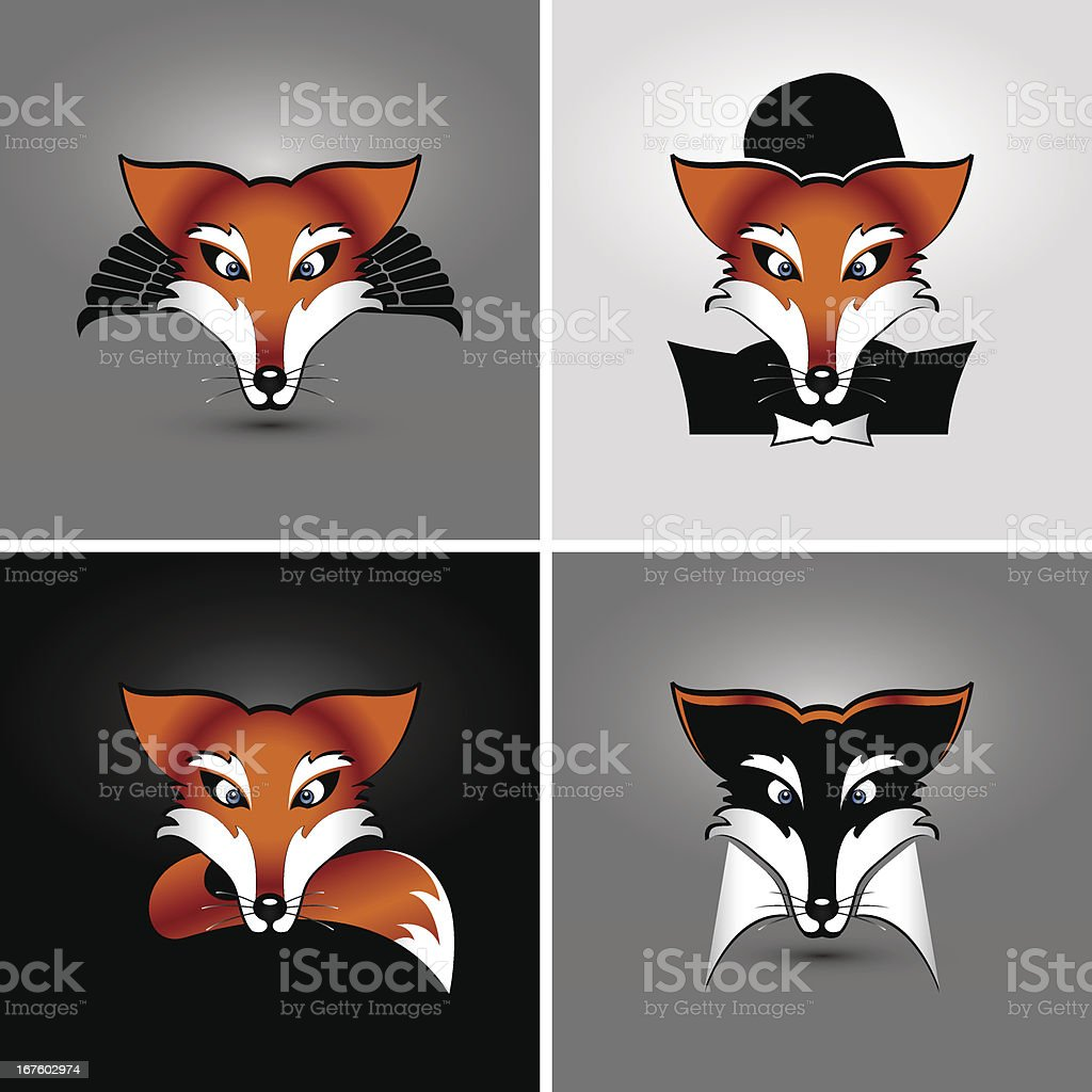 four foxes royalty-free stock vector art