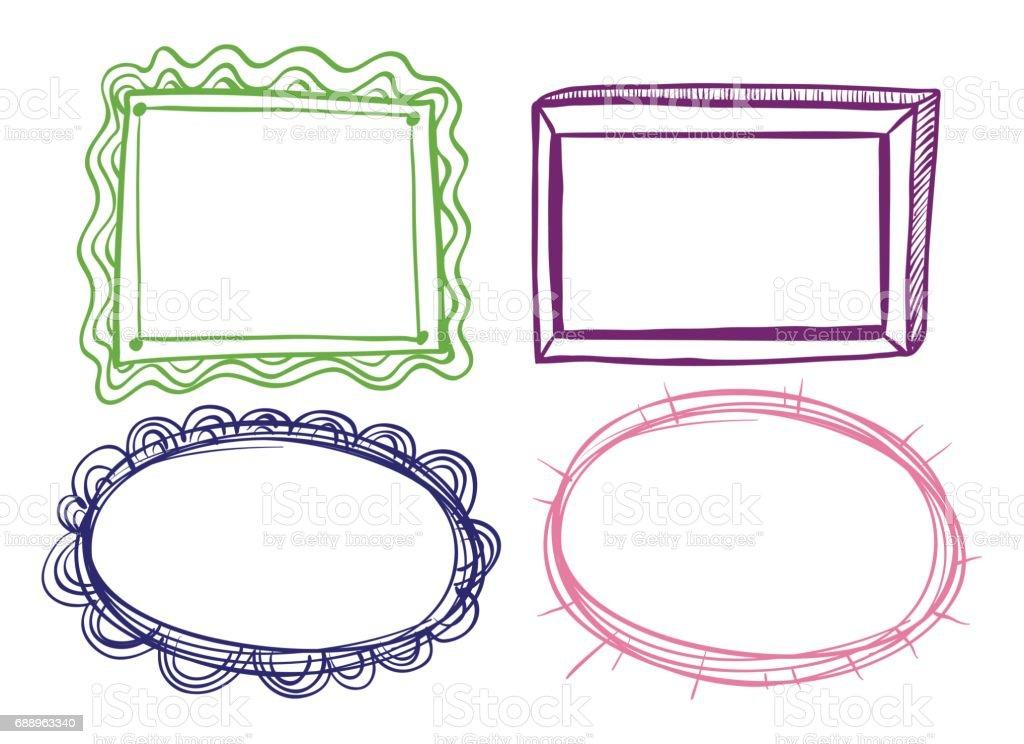 Cuatro Marco Diseños Sobre Fondo Blanco - Arte vectorial de stock y ...