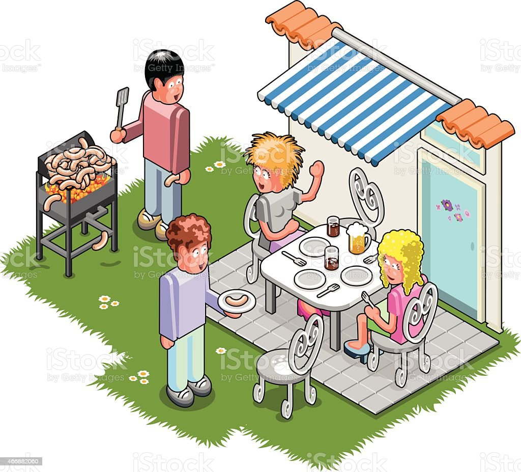 Four friends at garden BBQ party sitting on terrace vector art illustration
