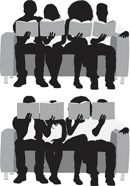 illustrazioni stock, clip art, cartoni animati e icone di tendenza di four friends reading books - compagni scuola