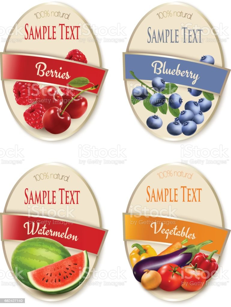 Four fruit, vegetables and berries labels. Vector. royalty-free four fruit vegetables and berries labels vector stock vector art & more images of art
