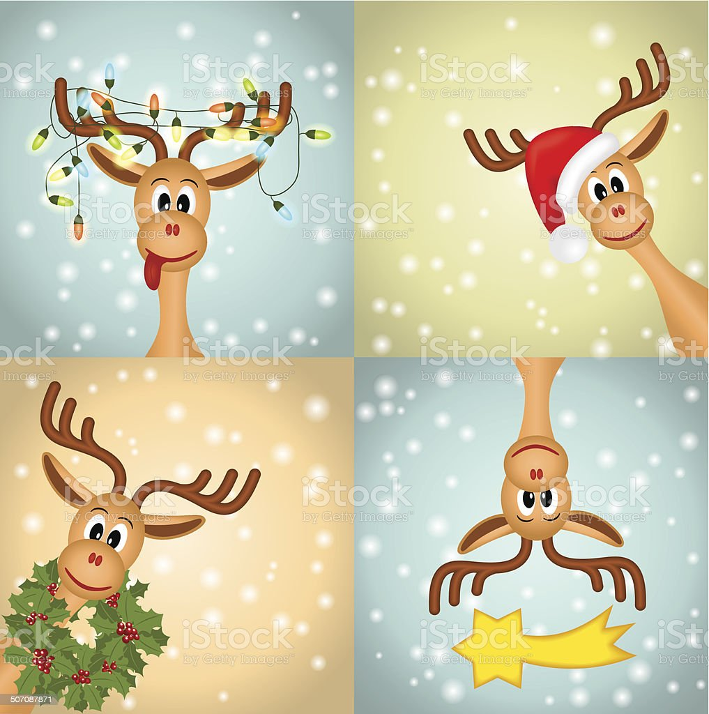 Four funny christmas reindeer royalty-free stock vector art