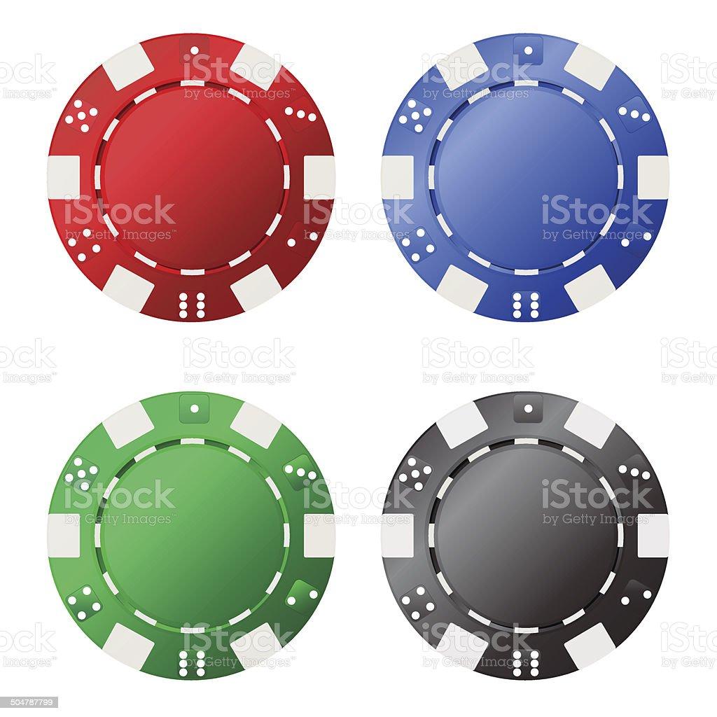 Four gambling chips vector art illustration