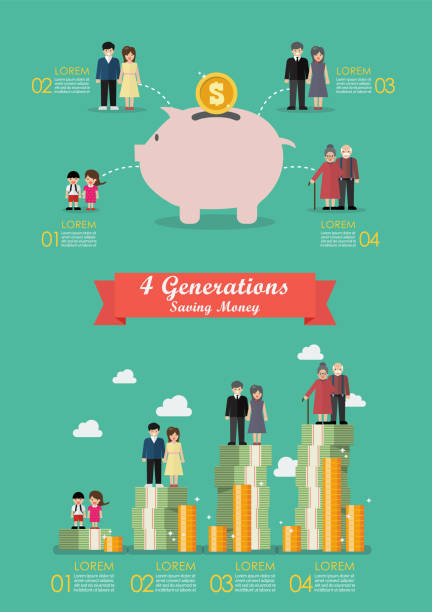 Four generation saving money collection infographic vector art illustration