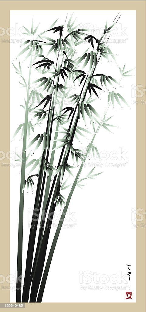 Four Gentlemen of Flowers - bamboo royalty-free stock vector art