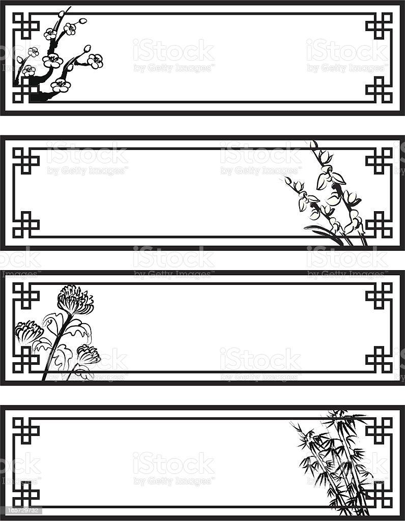 Four Gentlemen of Flowers Banners vector art illustration