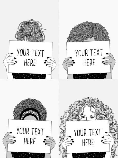illustrazioni stock, clip art, cartoni animati e icone di tendenza di four girls holding empty papers or signs - donna si nasconde
