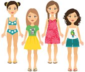 Four girls in summer outfits