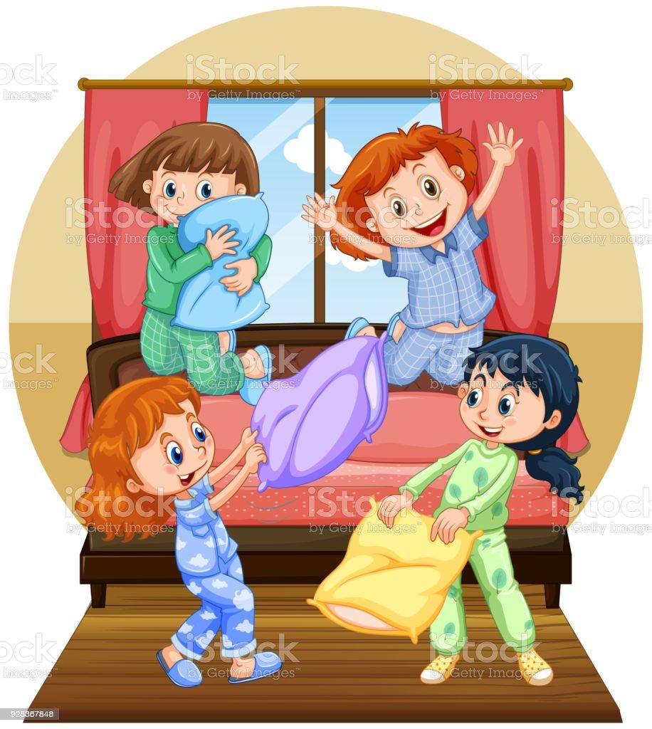 寝室で枕を再生する 4 人の女の子 イラストレーションのベクターアート
