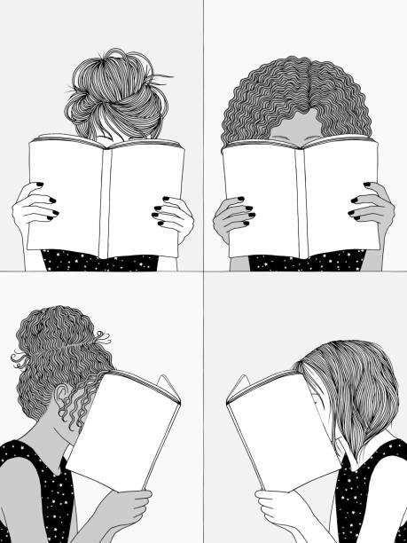 illustrazioni stock, clip art, cartoni animati e icone di tendenza di four girls reading books - donna si nasconde