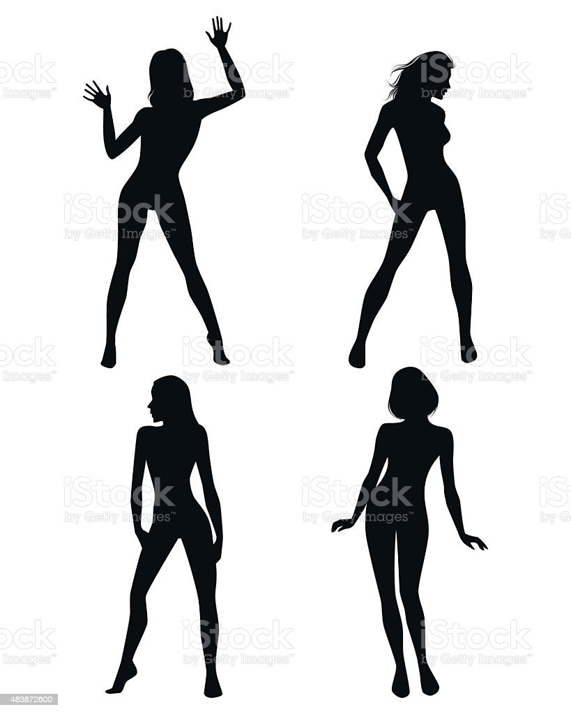 Four girls silhouettes