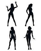 Four girls silhouettes