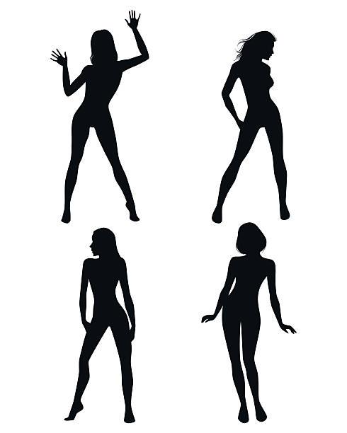 Four girls silhouettes vector art illustration