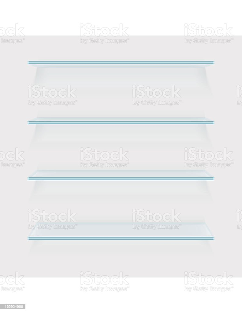Four glass shelves on white background